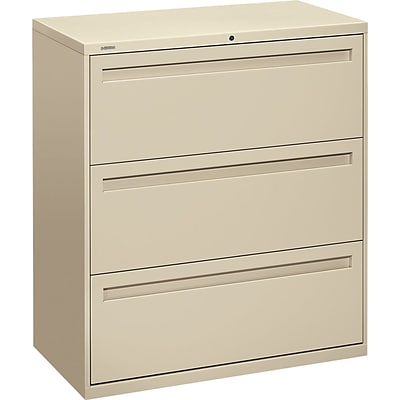 Hon® 700 Series 3-Drawer Lateral File Cabinet, Putty, Letter/Legal (783LL)