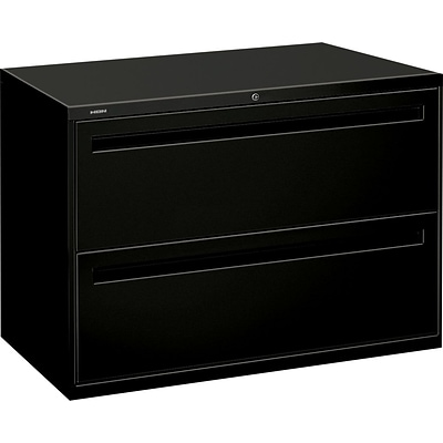 HON Brigade® 700 Series Lateral File, 2-Drawer, 28-3/8Hx42Wx19-1/4D, Black