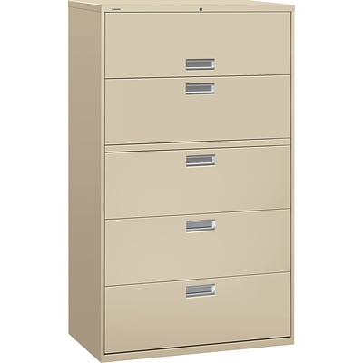 HON® Brigade 600 Series Lateral File Cabinet, A4/Legal/Letter, 5-Drawer, Putty, 19 1/4D (695LL) NEXT2017 NEXT2Day