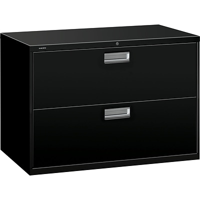 HON® Brigade 600 Series Lateral File Cabinet, A4/Legal/Letter, 2-Drawer, Black, 19 1/4D
