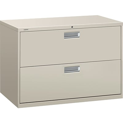 HON Brigade 600 Series Lateral File, 2 Drawers, Aluminum Pull, 42W, Light Gray Finish NEXT2018 NEXT2Day