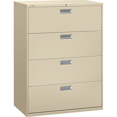 HON® Brigade 600 Series Lateral File Cabinet, A4/Legal/Letter, 4-Drawer, Putty, 19 1/4D (694LL)