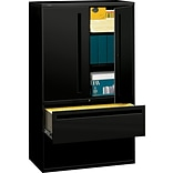 HON® 700 Series 2 Drawer Lateral File Cabinet w/Roll-Out & Posting Shelves, Black, Letter/Legal, 42