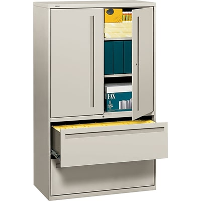 HON® 700 Series 2 Drawer Lateral File Cabinet w/Roll-Out & Posting Shelves, Light Grey, Letter/Legal, 42W (HON795LSQ)