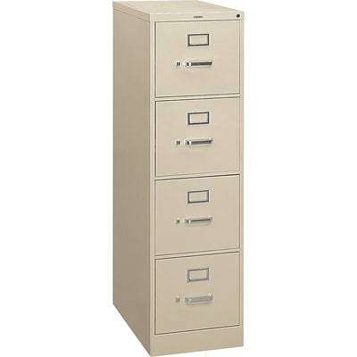 HON® S380 Series 4 Drawer Vertical File Cabinet, Putty, Letter, 26D (HS384PL)