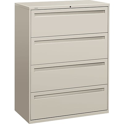 HON Brigade® 700 Series Lateral File, 4-Drawer, 53-1/4Hx42Wx19-1/4D, Light Grey
