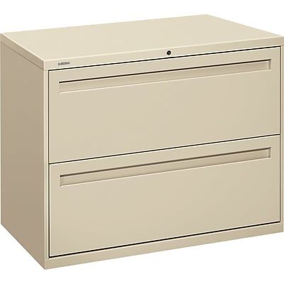 HON Brigade® 700 Series Lateral File, 2-Drawer, 28-3/8Hx36Wx19-1/4D, Putty
