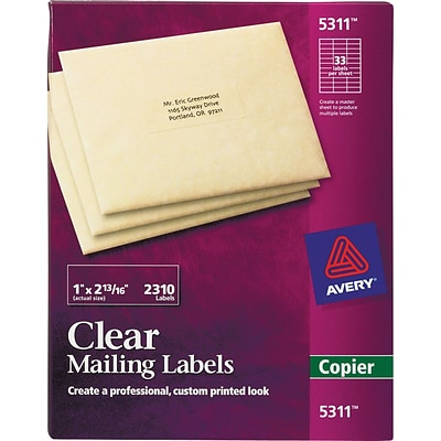 Avery® 5311 Clear Copier Address Labels, 1 x 2-13/16, 2310/Pack