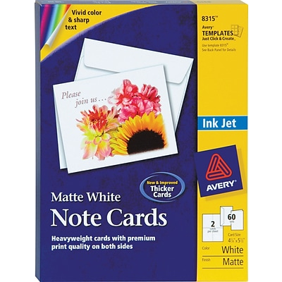 Avery® Inkjet Notecards, White, Matte Finish, 60 Pack