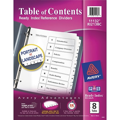 Avery® Ready Index®Table of Contents Dividers for Laser/Inkjet, Numbered 1-8, Black & White