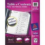 Avery® 12-Tab Black & White Ready Index System