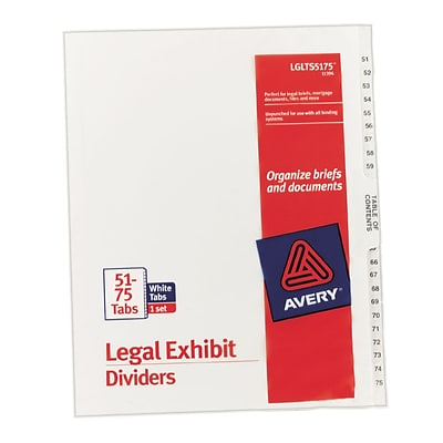 Avery® Legal Index Exhibit Dividers, Numerical 51-75 & Table of Contents, Letter Size