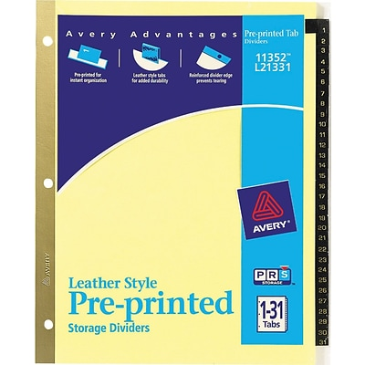 25-Tab 11350 1 Set Pre-Printed Black Leather Style Tabs Avery A-Z Tab Binder Dividers