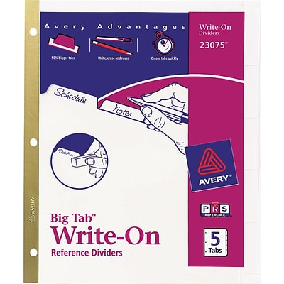 Avery® Big Tab™ Write-On Dividers With Erasable Tabs, 5-Tab Set, White