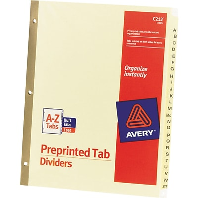 Avery® Preprinted Dividers, A-Z Tabs