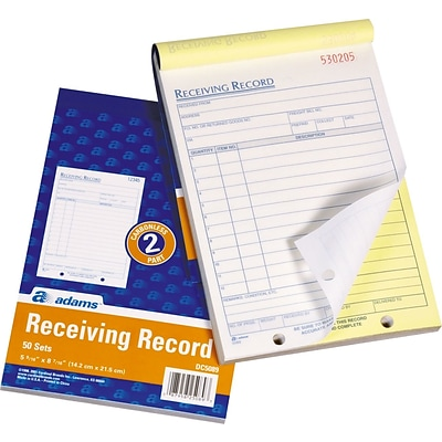 2-Part Receiving Records, 50 Sets/Book, 8-7/16x5-9/16