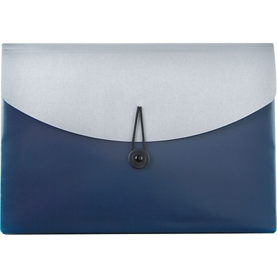 Pendaflex® Poly Slide File, Letter Size, Four Pockets, Blue/Silver, Each (50965)