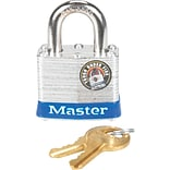 Master Lock® Four-Pin Tumbler Lock, Laminated Steel Body, 1 1/2 Wide, Silver/Blue, Two Keys
