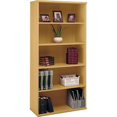 Bush Business Westfield 36W 5 Shelf Bookcase, Danish Oak