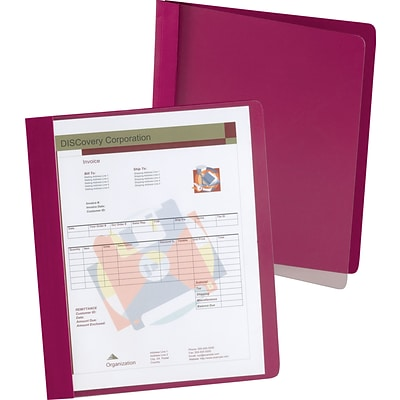 Oxford® Extra-Wide Clear-Front Report Covers, Dark Red