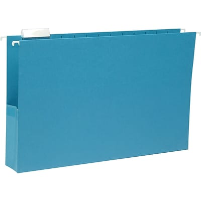 Smead® Legal 1/5 Cut Recycled Hanging File Pocket w/2 Expansion, Sky Blue, 25/Pack