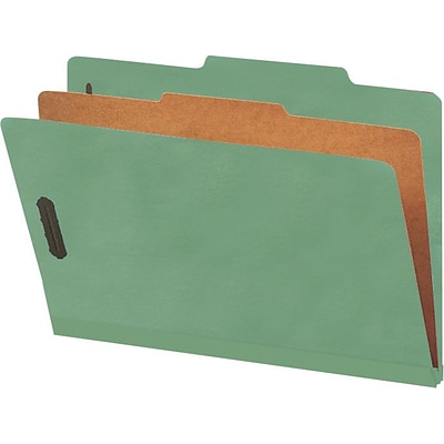 Smead® Pressboard Classification File Folder with SafeSHIELD®, 1 Divider, 2 Expansion, Legal Size, Green, 10 per Box (18733)