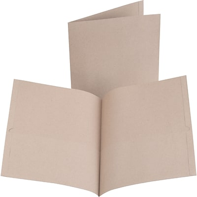 Oxford® 100% Recycled 2-Pocket Folders, Natural, 10/Pack