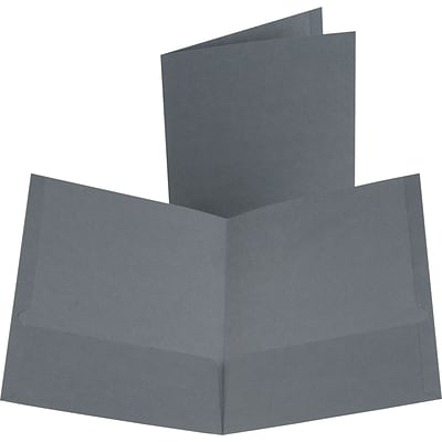 Oxford Linen 2-Pocket Folders, Dark Gray
