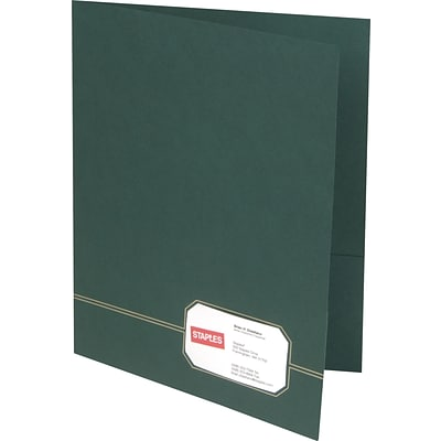Oxford® Monogram Executive Twin-Pocket Folders, Green/Gold