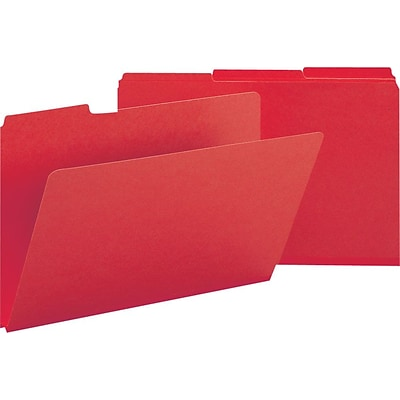 Smead® Pressboard 3-Tab Colored File Folders, 1 Expansion, Legal, Bright Red, 25/Bx (22538)