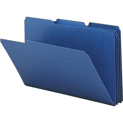 Smead® Pressboard 3-Tab Colored File Folders, 1 Expansion, Legal, Dark Blue, 25/Bx (22541)