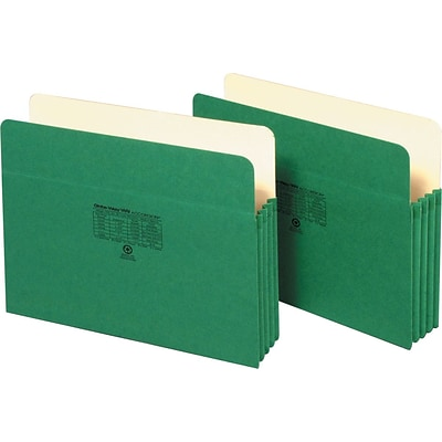 Globe-Weis® Colored File Pockets; Letter Size, 3-1/2 Expansion, Green