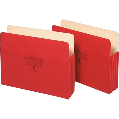 Globe-Weis® Colored File Pockets, Letter Size, 3-1/2 Expansion, Red