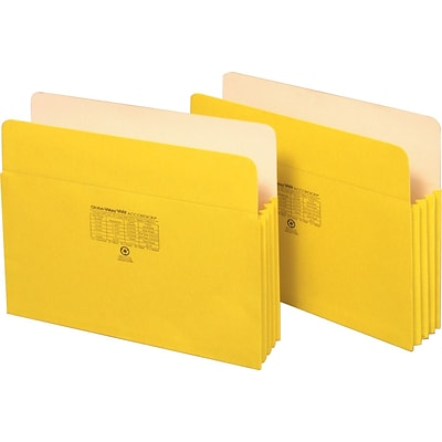 Globe-Weis® Colored File Pockets; Letter Size, 3-1/2 Expansion, Yellow