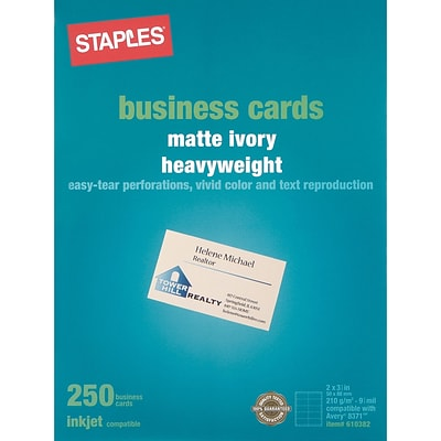 Inkjet Business Cards, Matte Ivory, 2 x 3 1/2, 250/Pack (12527)