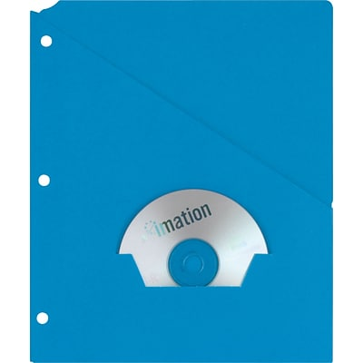 Oxford Recycled Slash Pocket Project Folders, 3-Hole Punched, Blue, 25/Box