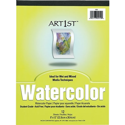 Pacon Art1st Watercolor Paper Pad, 9W x 12H, 12 Sheets/PD