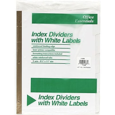 Index Dividers With Laser Labels, 8 Tab, White, 5 Sets (AVE11337)