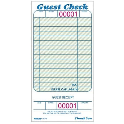 Rediform Guest Checks, 15 Writing Lines, 1 Part, 3 3/8 x 6 1/2, 50/Bk