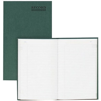 National Brand® Record Book with Margin, Hard Cover, Bound, Green, 200 Pages, 6 1/4 x 9 5/8