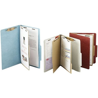 ACCO Pressboard Classification Folder 6 Parts, Leaf Green, Letter size Holds 8 1/2 x 11, 10/Pk