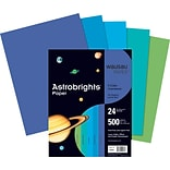Wausau™ Astrobrights® Colored Paper, 8 1/2 x 11, Assorted Cool Colors, Ream (WAU20274)