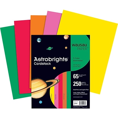 ASTROBRIGHTS Cardstock, 8 1/2 x 11, 65 lb., 5-Color Vintage Assortment, 250 sheets