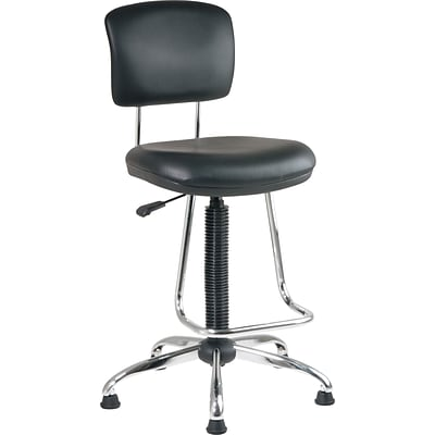 Office Star & trade, Faux Leather and Chrome Drafting Chair with Teardrop Footrest, Black