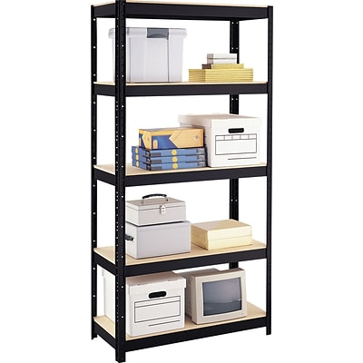 Space Solutions Boltless Steel Shelving, 5 Shelves, Black, 72H x 36W x 16D