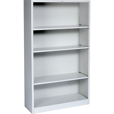 HON® Brigade Steel Bookcase, Light Gray, 4-Shelf, 59H