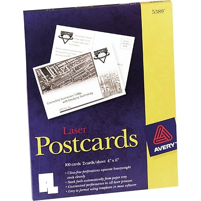 Avery® Laser Postcards, 4 x 6, Uncoated, 100/Box (5389)