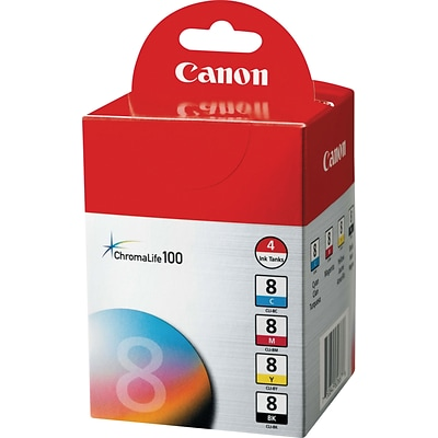 Canon® CLI-8 Inkjet Cartridges Multi-pack (4 cart per pack), 1ea of Black, Magenta, Cyan and Yellow