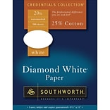 Southworth 25% Cotton Diamond Paper, 20-lb., White, 8 1/2 x 11, 500/Bx