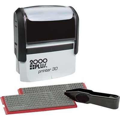2000Plus® One-Color Self-Inking Stamp Kit, 5-Line, 1-7/8 x 3/4 Impression, Black Ink (031557)